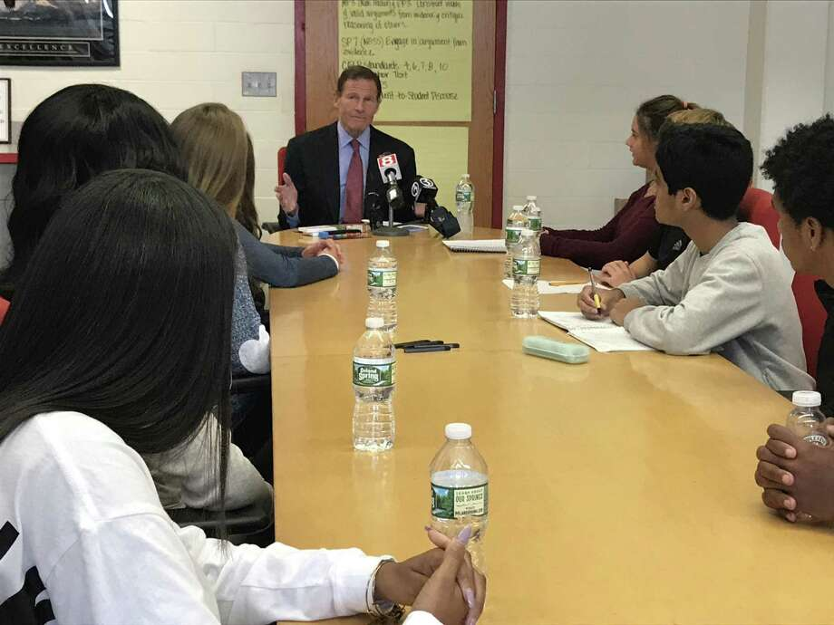 U.S. Sen. Richard Blumenthal meets with Wilbur Cross High School students to hear feedback on a proposal to ban fruit-flavored electronic cigarette vapor pods. Photo: Brian Zahn / Hearst Connecticut Media / New Haven Register