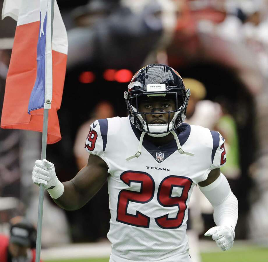 In this Sept. 10, 2017, file photo, Houston Texans free safety Andre Hal (29) is introduced prior to an NFL football game, in Houston. Hal, who is in remission after being diagnosed with Hodgkin lymphoma, resumed practicing with the Houston Texans on Wednesday, Oct. 17, 2018, giving the team 21 days to take him off the non-football illness list and add him to the active roster. Photo: David J. Phillip, STF / Associated Press / Copyright 2017 The Associated Press. All rights reserved.