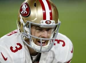 San Francisco 49ers quarterback C.J. Beathard (3) before an NFL football game against the Green Bay Packers Monday, Oct. 15, 2018, in Green Bay, Wis. (AP Photo/Matt Ludtke)