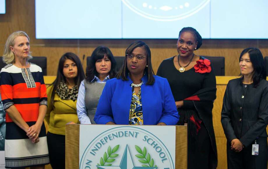 In this October 2018 file photo, Houston Independent School District trustees (LtoR) Sue Deigaard, Elizabeth Santos, Diana Dávila, Wanda Adams and Anne Sung listen as Grenita Lathan addresses the media during a press conference at the Hattie Mae White Educational Support Center. Trustees apologized for the recent turmoil among the school board and stated that Lathan would continue to serve as the interim superintendent. Photo: Mark Mulligan, Houston Chronicle / Staff Photographer / © 2018 Mark Mulligan / Houston Chronicle