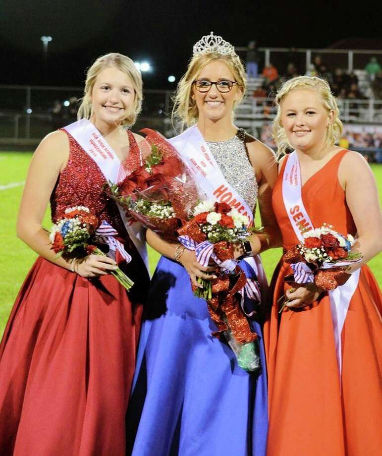 Katie Hahn (middle) was crowned Unionville-Sebewaing Area High School's homecoming queen. Hahn is pictured with Nichole Schember (left) and Morgan Vermeersch. (Submitted Photo)