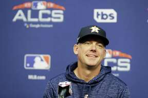 Houston Astros manager AJ Hinch speaks during a news conference at a baseball workout Monday, Oct. 15, 2018, in Houston. The Astros will face the Boston Red Sox in Game 3 of the baseball American League Championship Series Tuesday Oct. 16 2018. (AP Photo/Frank Franklin II)
