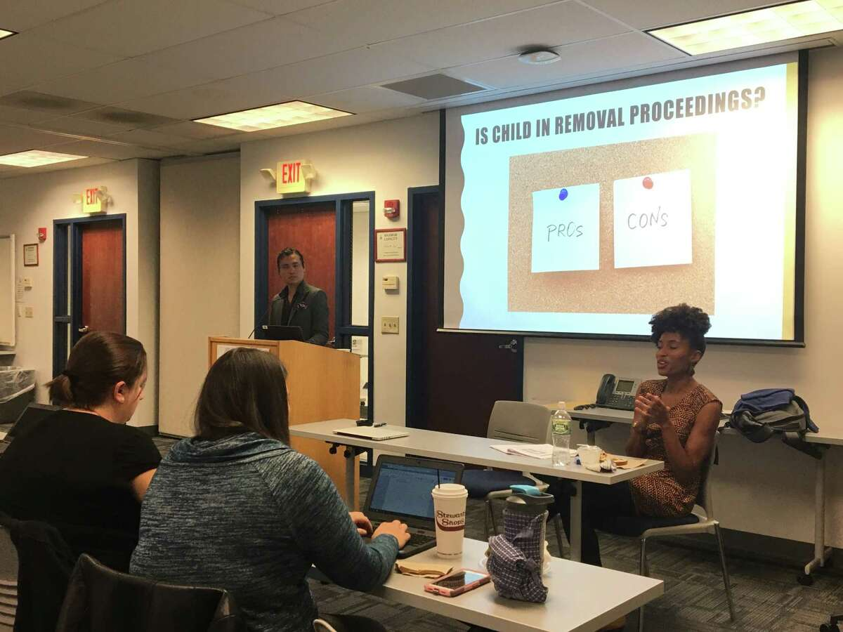 Kimberly Harbin and Jordan Manalastas, Equal Justice Works AmeriCorps Legal Fellows in upstate New York, give a training on legal options for undocumented children to Capital Region educators and professionals in Castleton, N.Y. on Oct. 1, 2018.