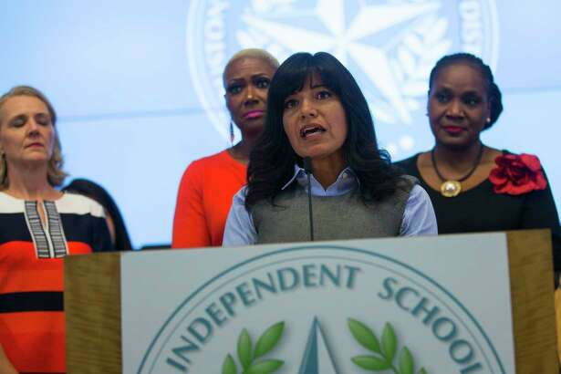 Houston Independent School District trustee Diana Dávila addresses the media with her fellow trustees during a press conference at the Hattie Mae White Educational Support Center, Monday, Oct. 15, 2018 in Houston. Trustees apologized for the recent turmoil among the school board and stated that Lathan would continue to serve as the interim superintendent.