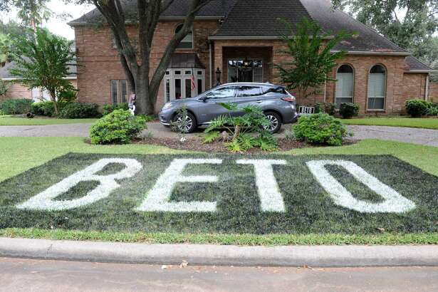 Campaign sign for Beto O'Rourke painted on a lawn in the Chesterwick subdivision in Katy, TX on Saturday, October 13, 2018.
