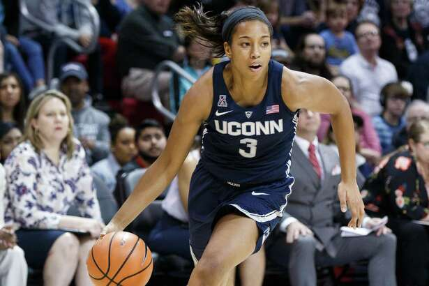 DALLAS, TX - FEBRUARY 24: UConn Huskies guard Megan Walker (#3) rives the baseline during the American Conference college basketball game between the SMU Mustangs and the UConn Huskies on February 24, 2018, at the Moody Coliseum in Dallas, TX. UConn won the game 80-36. (Photo by Matthew Visinsky/Icon Sportswire via Getty Images).