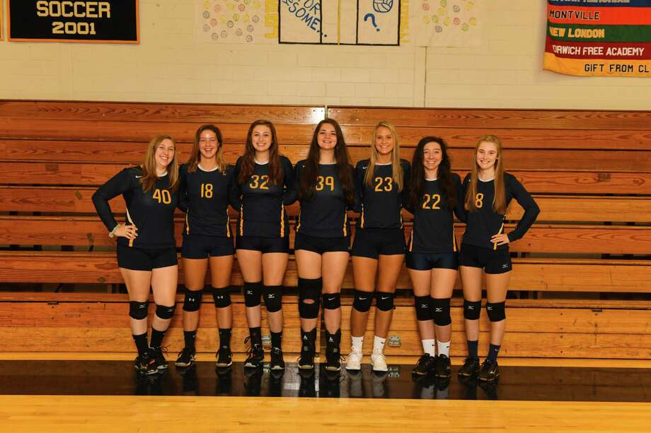 The senior members of the Ledyard volleyball team, which helped put on a Senior Night celebration for visiting Wheeler this past week. Wheeler has been playing all of its games on the road with its gym under construction. Photo: Contributed Photo / Darien News contributed