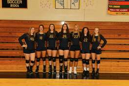 The senior members of the Ledyard volleyball team, which helped put on a Senior Night celebration for visiting Wheeler this past week. Wheeler has been playing all of its games on the road with its gym under construction.