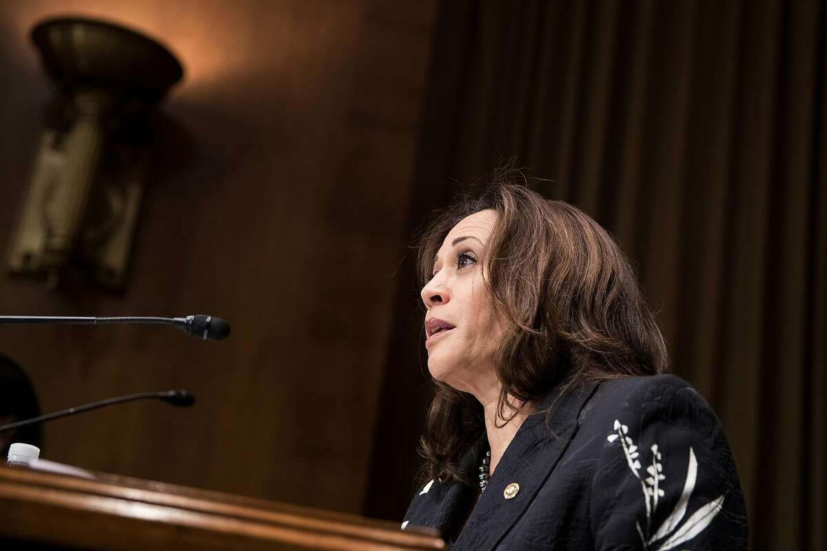 Sen. Kamala Harris (D-Calif.) participates in a markup session of the Senate Judiciary Committee on Capitol Hill in Washington, Oct. 11, 2018. (Sarah Silbiger/The New York Times)
