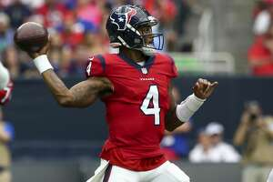 Houston Texans quarterback Deshaun Watson (4) throws the ball against the Buffalo Bills during the first quarter of an NFL game at NRG Stadium Sunday, Oct. 14, 2018, in Houston.