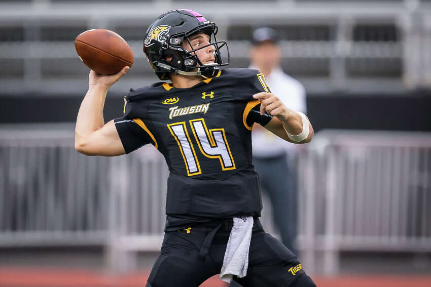 Towson quarterback Tom Flacco, brother of Ravens QB Joe Flacco, leads the CAA with 1,670 passing yards and 15 touchdown throws. (ENP Photography)