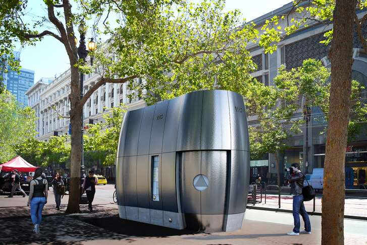 An architect's rendering of the new public toilets that would be installed on the streets of San Francisco, replacing the current Parisian-flavored models.