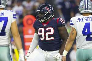 Houston Texans defensive tackle Brandon Dunn (92) during the third quarter of an NFL football game at NRG Stadium on Sunday, Oct. 7, 2018, in Houston.