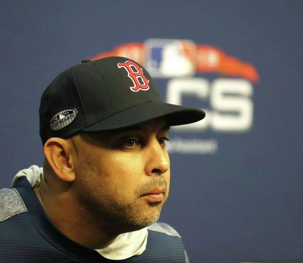Boston Red Sox manager Alex Cora speaks to the media during a press conference as the Boston Red Sox worked out ahead of Tuesday's Game 3 of the American League Championship Series at Minute Maid Park on Monday, Oct. 15, 2018, in Houston.