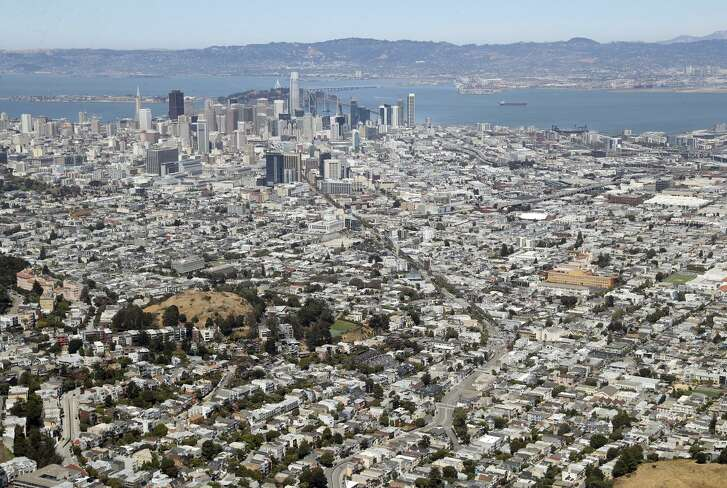 A vew from Sutro Tower to S.F. and the Bay Area beyond where housing costs are unaffordable for many, but a poll says the majority of likely voters will reject the expansion of rent control.
