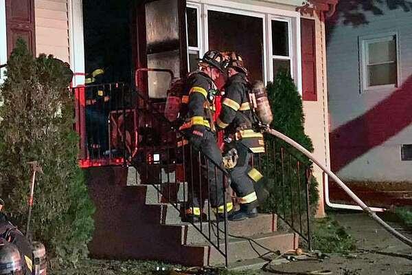 Norwalk, Conn., firefighters battled a blaze on Oct. 17, 2018.