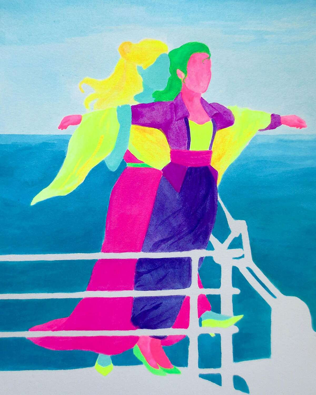 """Titanic"" from artist Crystal Vielula's ""Queer Movie Stills"" series."