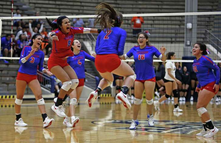 Jefferson celebrates after defeating Edison from the District 27-5A high school volleyball match on Tuesday, September 18, 2018 at Alamo Convocation Center.