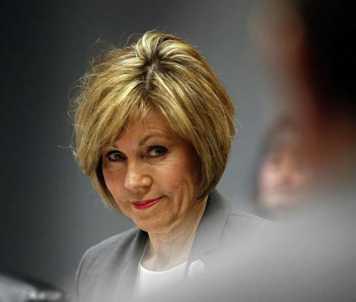 City Manager Sheryl Sculley listens during meeting. The council's Governance Committee meets Wednesday to discuss settting metrics for the city manager on Wednesday, February 28, 2018 at City Hall Briefing Room.