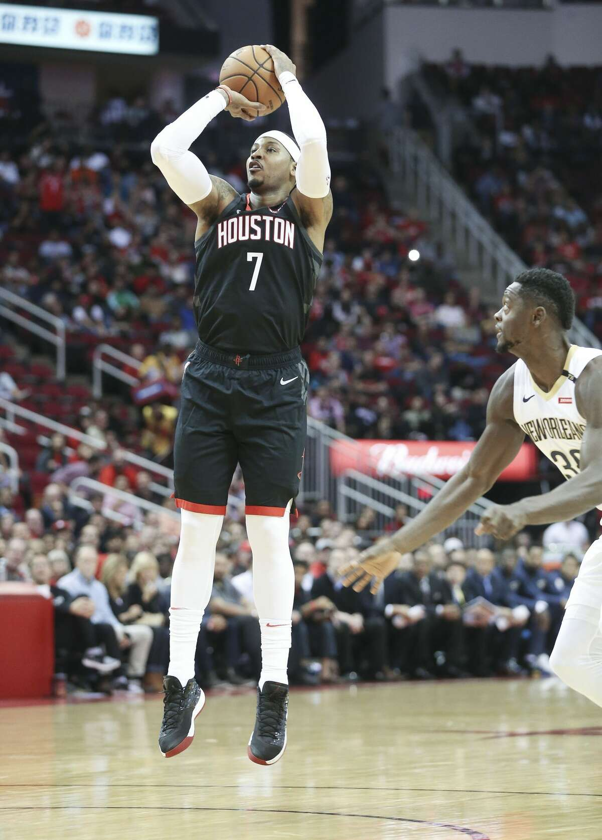 Oct. 17: Pelicans 131, Rockets 112 In his Rockets debut, Anthony scored 9 points on 3-of-10 shooting. In a game where the Rockets got blown out, Anthony had a plus-minus of minus-20.
