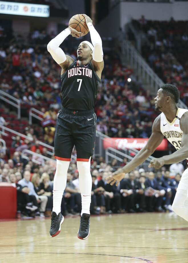 Oct. 17: Pelicans 131, Rockets 112In his Rockets debut, Anthony scored 9 points on 3-of-10 shooting. In a game where the Rockets got blown out, Anthony had a plus-minus of minus-20. Photo: Elizabeth Conley/Staff Photographer