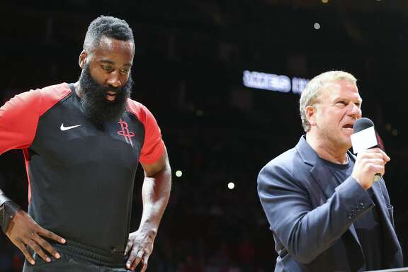 Houston Rockets owner Tilman Fertitta talks to attendees during the presentation for Houston Rockets guard James Harden (13) 2017-2018 NBA MVP trophy before the Rockets season home opener against the New Orleans Pelicans at the Toyota Center on Wednesday, Oct. 17, 2018 in Houston.
