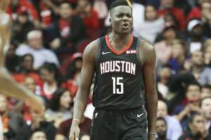 Houston Rockets center Clint Capela (15) makes a face after being called for a foul against the New Orleans Pelicans at the Toyota Center on Wednesday, Oct. 17, 2018 in Houston.