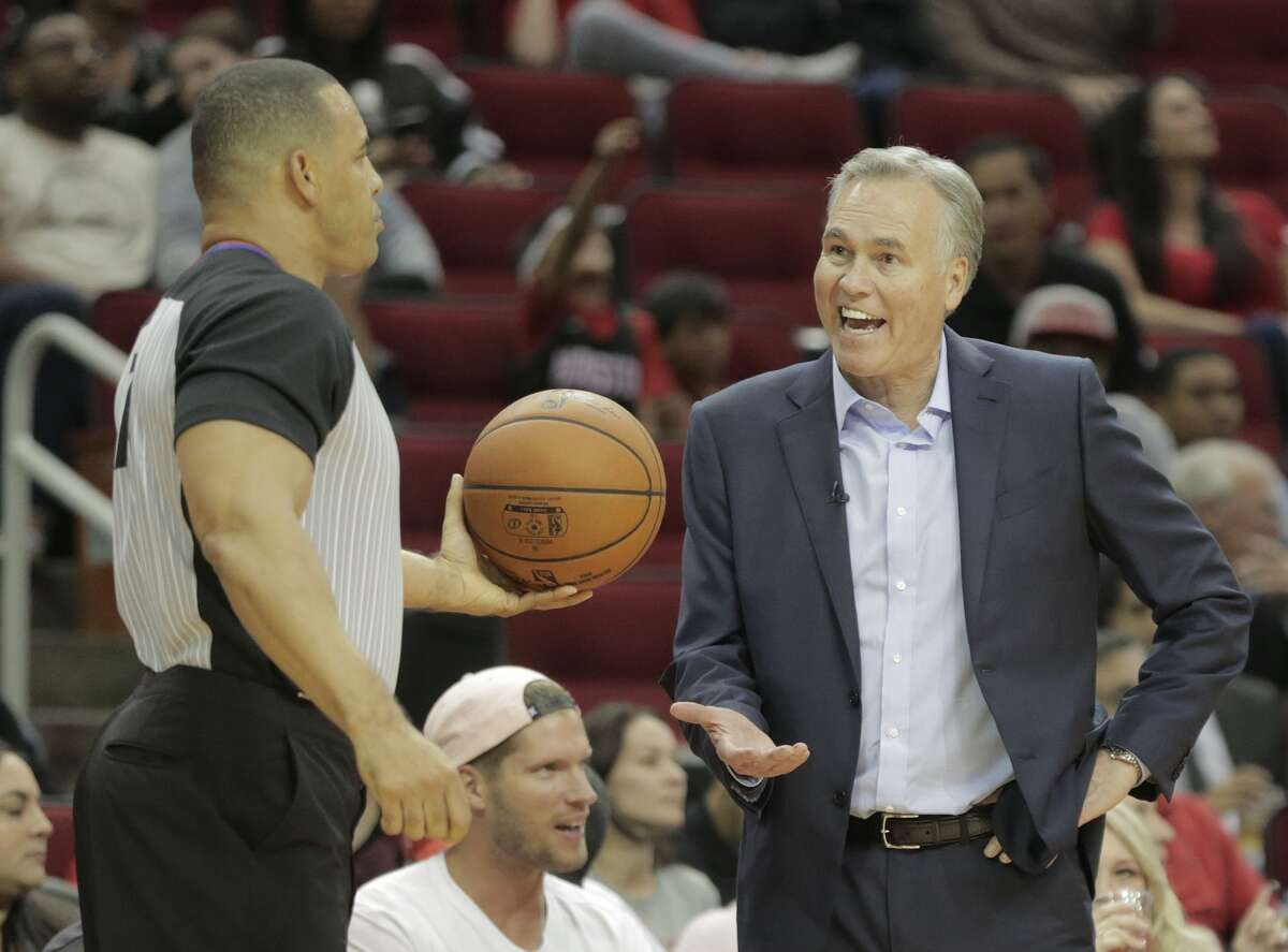 Houston Rockets head coach Mike D'Antoni reacts to a call in the fourth quarter as the Rockets play New Orleans Pelicans at the Toyota Center on Wednesday, Oct. 17, 2018 in Houston. New Orleans Pelicans won the game 131-112.