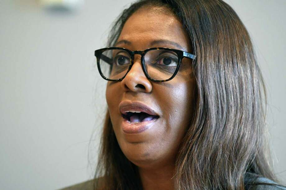 Letitia James, one of four Democrats seeking the nomination for state attorney general, speaks to the Times Union editorial board on Wednesday, Aug. 22, 2018, at Times Union in Colonie N.Y. (Will Waldron/Times Union) Photo: Will Waldron / 20044595A