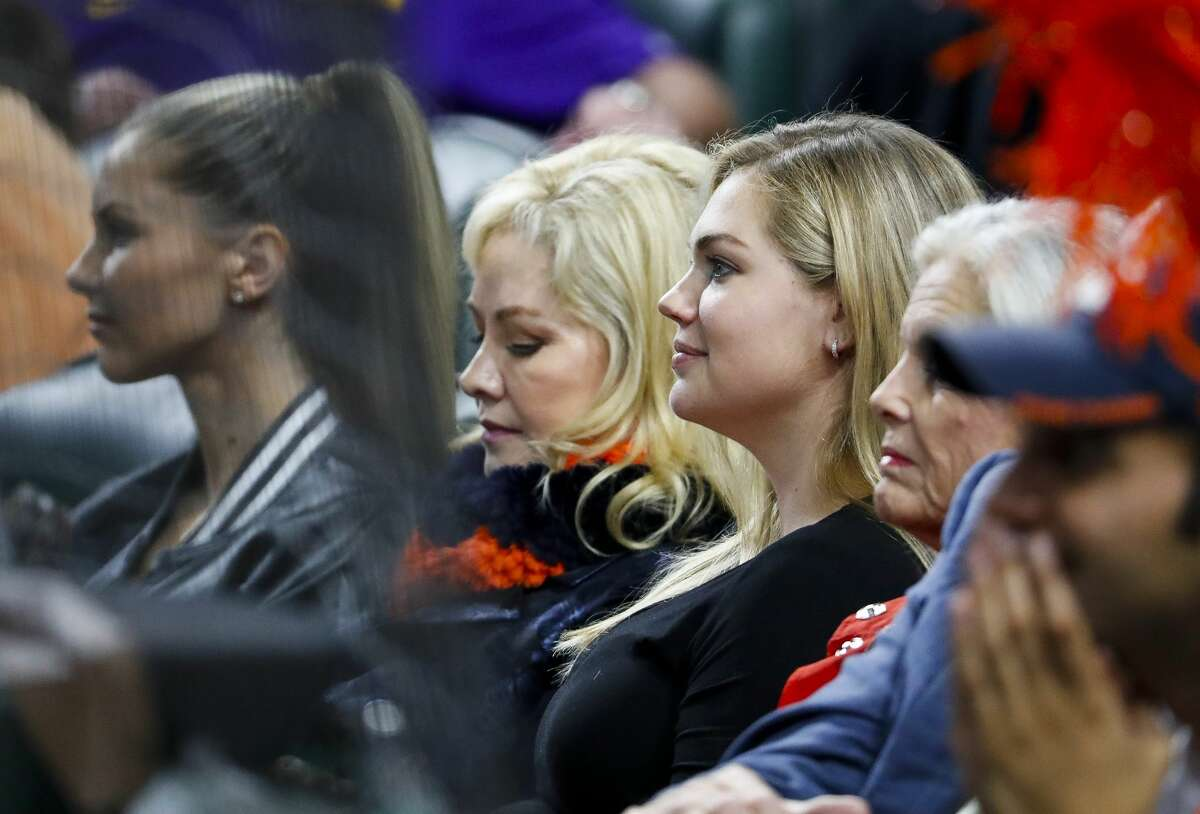 Kate Upton watches Game 4 of the American League Championship Series at Minute Maid Park on Wednesday, Oct. 17, 2018, in Houston.