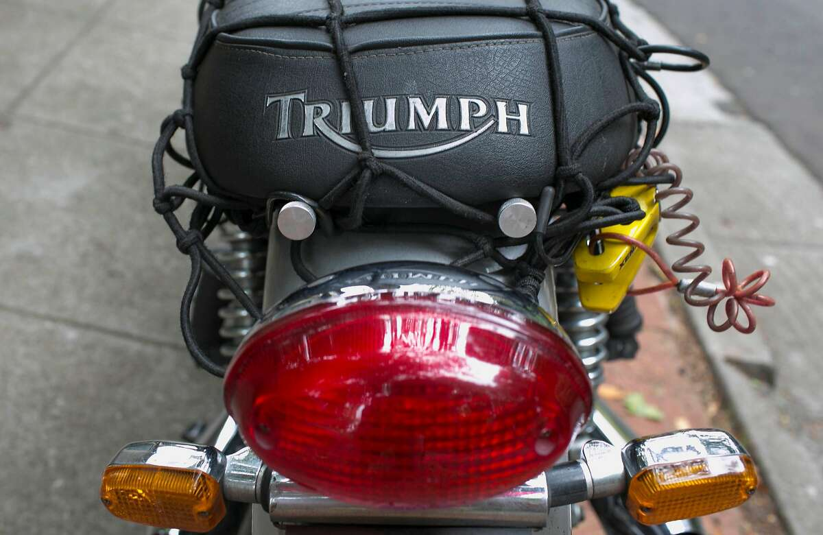 Lincoln Cushing of Berkeley drives a Triumph Bonneville