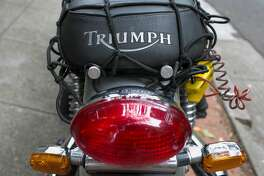 Lincoln Cushing of Berkeley drives a Triumph Bonneville