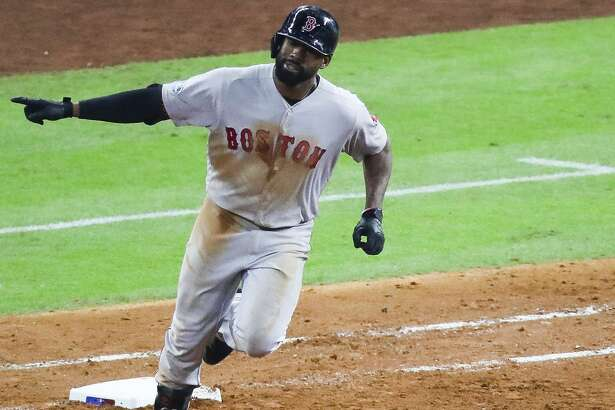 Boston Red Sox Jackie Bradley Jr. (19) rounds first after hitting a two run home run to give Boston a 6-5 lead during the sixth inning of Game 4 of the American League Championship Series at Minute Maid Park on Wednesday, Oct. 17, 2018, in Houston.