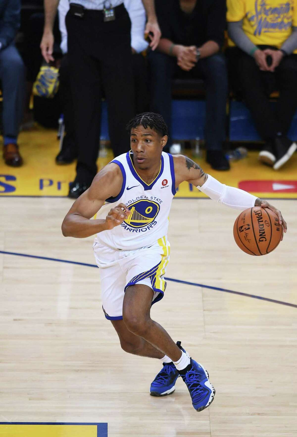 OAKLAND, CA - MAY 31: Patrick McCaw #0 of the Golden State Warriors shoots against the Cleveland Cavaliers in Game 1 of the 2018 NBA Finals at ORACLE Arena on May 31, 2018 in Oakland, California. NOTE TO USER: User expressly acknowledges and agrees that, by downloading and or using this photograph, User is consenting to the terms and conditions of the Getty Images License Agreement. (Photo by Thearon W. Henderson/Getty Images)