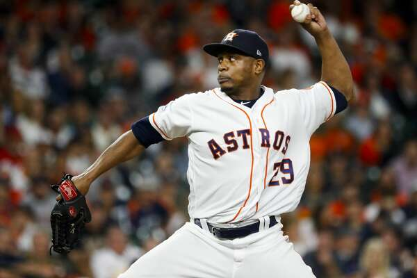 Houston Astros relief pitcher Tony Sipp (29) pitches during the ninth inning of Game 4 of the American League Championship Series at Minute Maid Park on Wednesday, Oct. 17, 2018, in Houston.