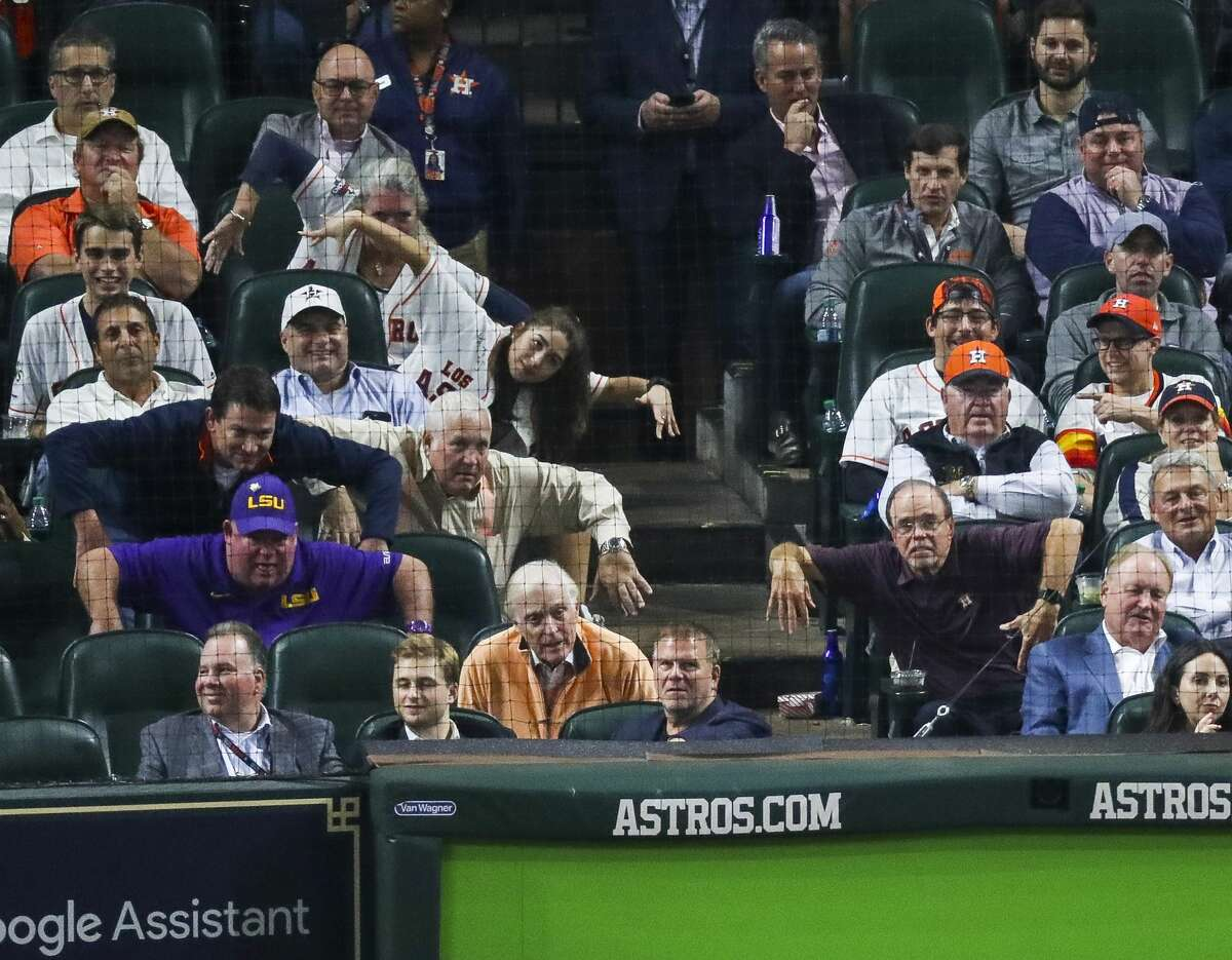 Astros fans mock the pitching stance of Boston Red Sox relief pitcher Craig Kimbrel (46) during the eighth inning of Game 4 of the American League Championship Series at Minute Maid Park on Wednesday, Oct. 17, 2018, in Houston.