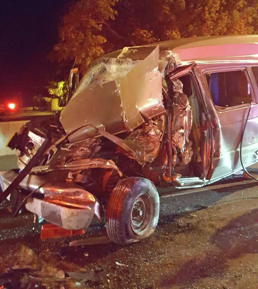 A driver was seriously injured after his van rear-ended a tractor-trailer truck on southbound I-95 after 1 a.m. on Thursday, Oct. 18, 2018. The impact of the crash crushed the front of the van beneath the tractor-trailer. The injured driver received continual patient care from firefighters who entered the vehicle and remained with the driver until he was extricated and transported to the hospital by Westport EMS. It took a total of 21 firefighters just over an hour to complete the extrication. Photo: Westport Fire Department Photo