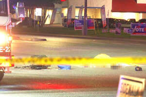 Police said the victim, a man in his 60s or 70s, was crossing Southeast Military Drive near South Flores street at about 9:45 p.m. when the motorcyclist struck him.