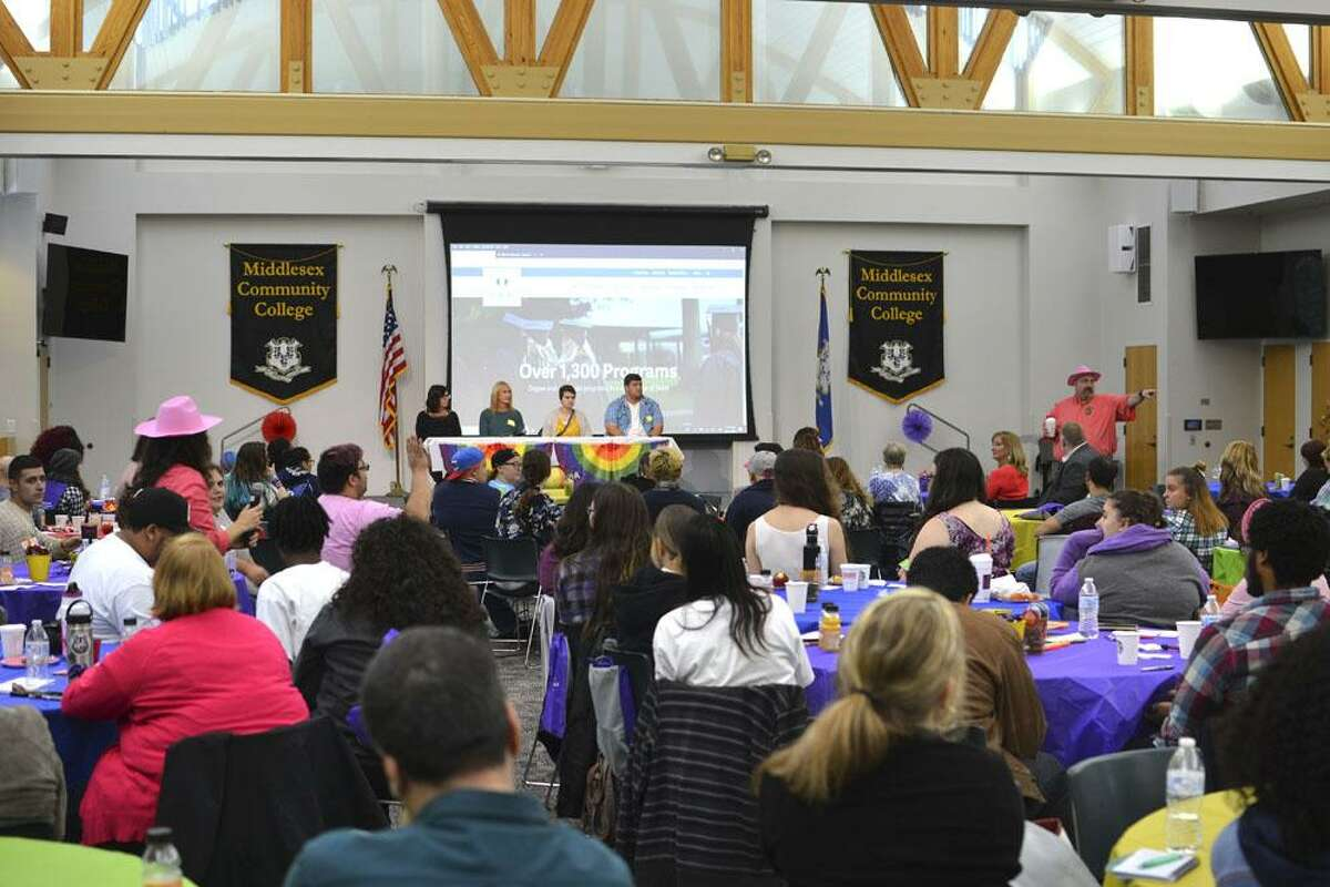 Over 125 people 11 community colleges and four state universities gathered at Middlesex Community College in Middletown for the inaugural Connecticut State Colleges and Universities PRIDE Conference Oct. 13.