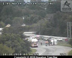 Overturned 18-wheeler closes westbound North Loop exit to I-45 North - Houston C...