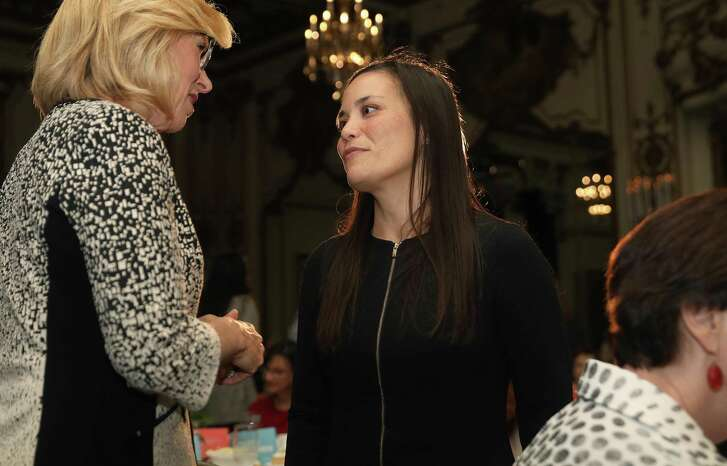 Gina Ortiz Jones (middle), candidate for U.S. House (TX-23) seen at an EMILY's List luncheon at the Fairmont Hotel on Friday, Aug. 17, 2018 in San Francisco, Calif.