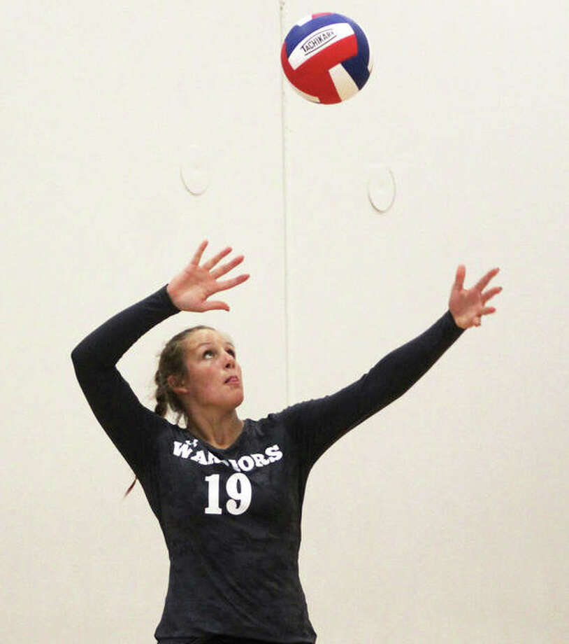 Calhoun's Sydney Baalman had nine kills and served for 10 points in the Warriors' three-set victory Wednesday night at Havens Gym in Jerseyville. Baalman is shown serving in a match earlier this season. Photo: Greg Shashack / The Telegraph