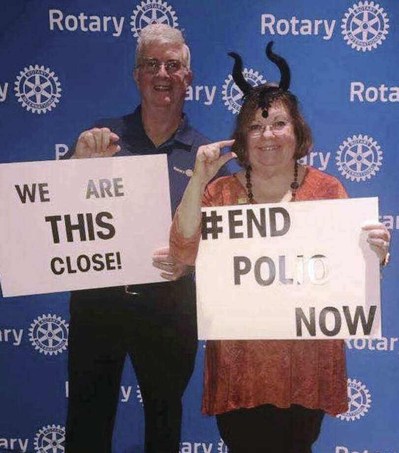 Rotary Club of Conroe members Ed and Cecily Kelly show that we are this close to ending Polio at the 2017 Spirits of Texas event. The Rotary Club of Conroe again hosts Spirits of Texas this Tuesday at the North Montgomery County Community Center in Willis from 6:30 to 9 p.m. Tickets are $25 with a portion of the proceeds going to End Polio Now. Get your tickets at the door or email Ron Saikowski at rsaikowski@comcast.net.