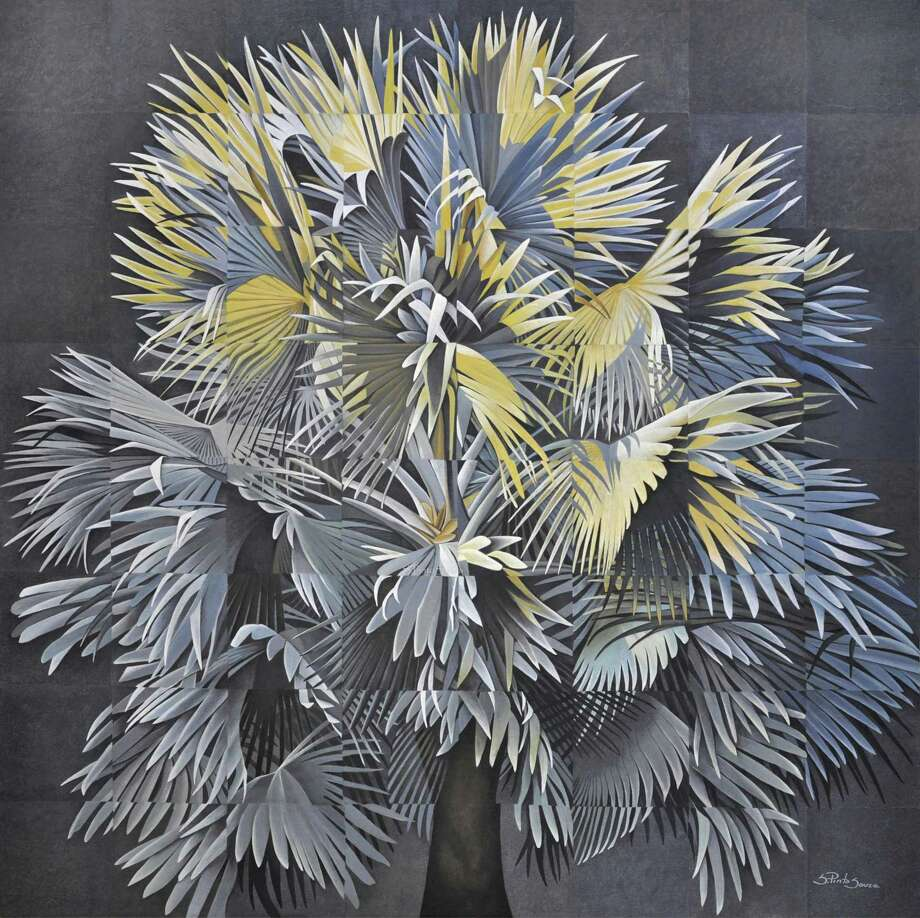 "A mixed-media painting titled ""Silver Palm"" by Houston artist Silvia Pinto Sousa, which won first place at last year's National Invitational art competition sponsored by the Conroe Art League."