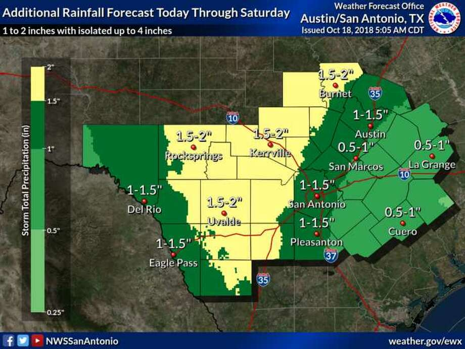More rain is expected on Thursday and Friday in the San Antonio area. Photo: National Weather Service