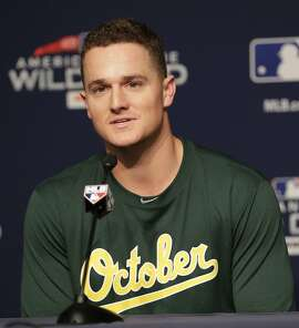 Oakland Athletics third baseman Matt Chapman speaks during a news conference before their upcoming American League wildcard baseball game against the New York Yankees Tuesday, Oct. 2, 2018, in New York. (AP Photo/Frank Franklin II)