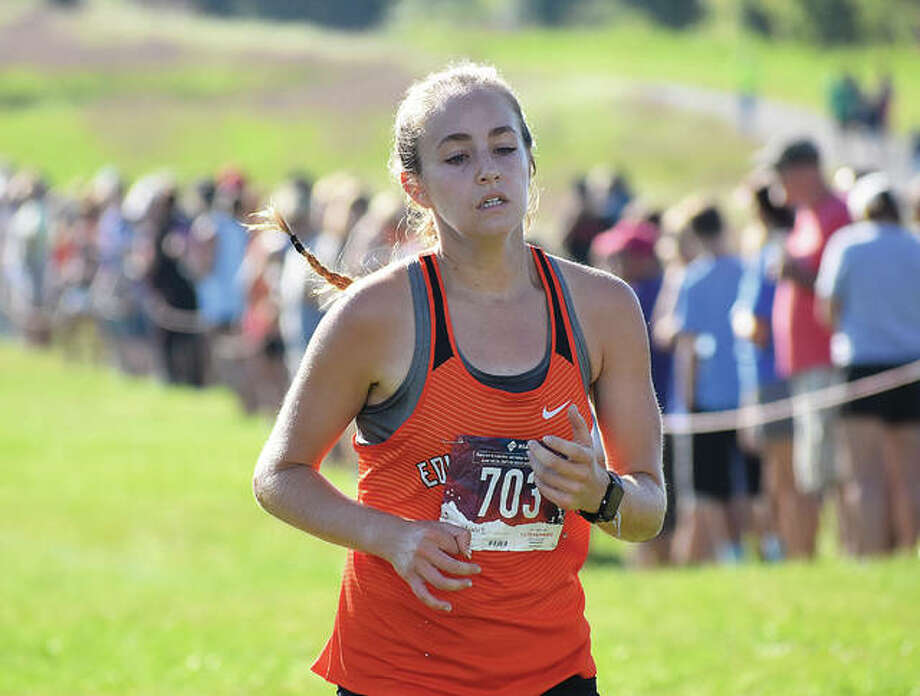 Edwardsville's Hannah Stuart is on her way to a fourth-place finish in the Edwardsville Invitational on Sept. 15 at SIUE. Photo: Matt Kamp/Intelligencer