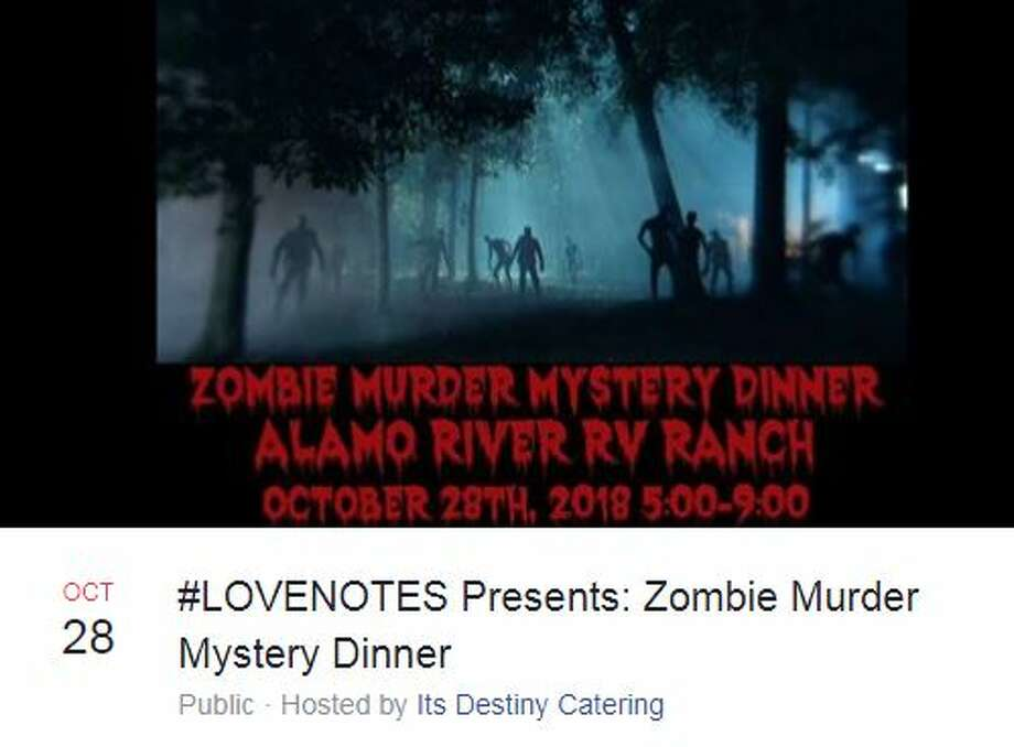 On Oct. 28, Destiny Catering is hosting a zombie murder mystery dinner as part of a suicide awareness campaign. Photo: Facebook Screengrab