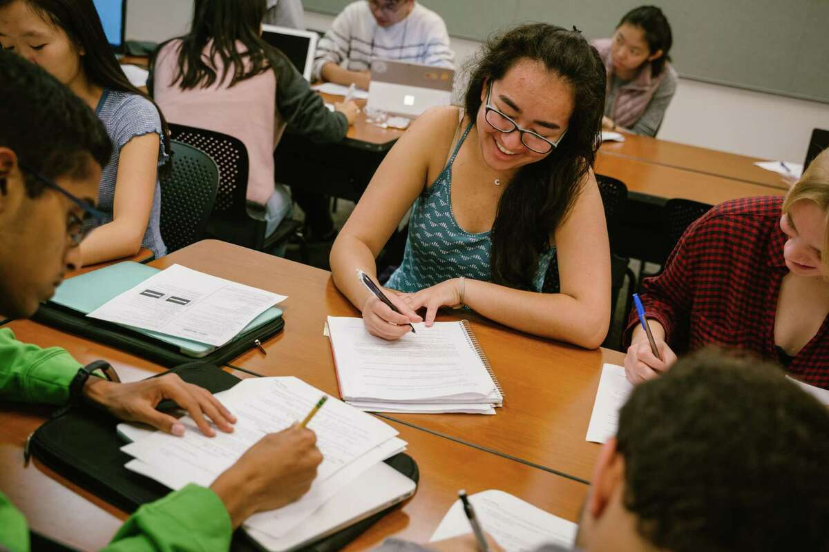 UC Berkeley sophomore Cara Wolf takes notes.
