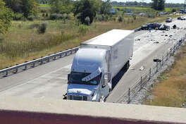 Intelligencer news staff A view of the accident from an Interstate 55 overpass.